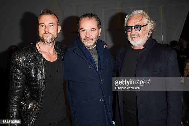 Philipp Plein Remo Ruffini and Flavio Briatore attend the Billionaire show during Milan Men's Fashion Week Fall/Winter 2017/18 on January 16 2017 in...