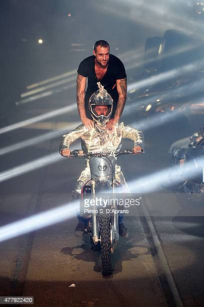 Philipp Plein walks the runway after his show as part of Milan Men's Fashion Week Spring/Summer 2016 on June 20 2015 in Milan Italy