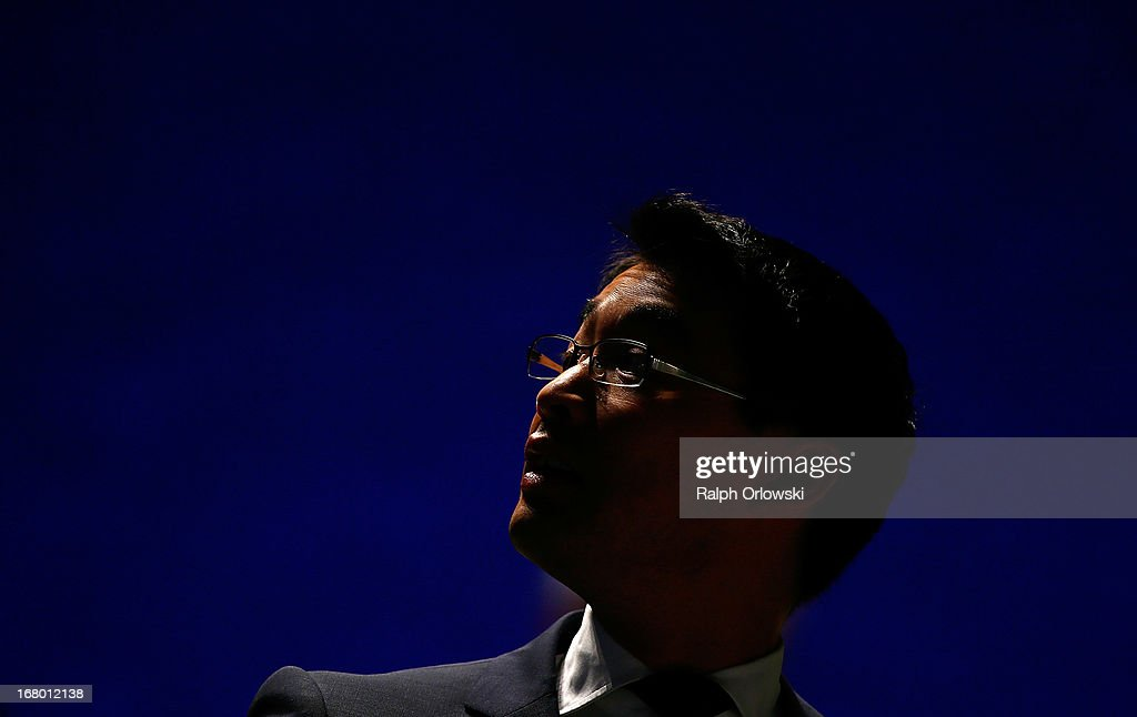 Philipp Roesler, head of the German Free Democrats (FDP) political party looks up at the FDP federal congress (Bundesparteitag) on May 4, 2013 in Nuremburg, Germany. The FDP is the junior partner in the current German government coalition, though its popularity has faltered in recent years and the party is in danger of not receiving the required minimum of 5% of votes to retain seats in the Bundestag in federal elections scheduled for September.