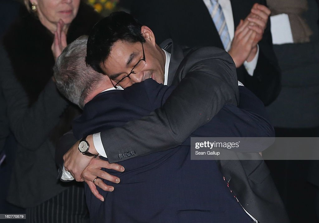 <a gi-track='captionPersonalityLinkClicked' href=/galleries/search?phrase=Philipp+Roesler&family=editorial&specificpeople=4838791 ng-click='$event.stopPropagation()'>Philipp Roesler</a>, Vice Chancellor and Chairman of the German Free Democrats (FDP), embraces his adoptive father Uwe after Philipp spoke at his 40th birthday celebration on February 26, 2013 in Berlin, Germany. The FDP and CDU are the current German government coalition, though the FDP has faced a very challenging last 18 months that has brought the party to its lowest popularity ratings in decades. Germany faces federal elections in September.