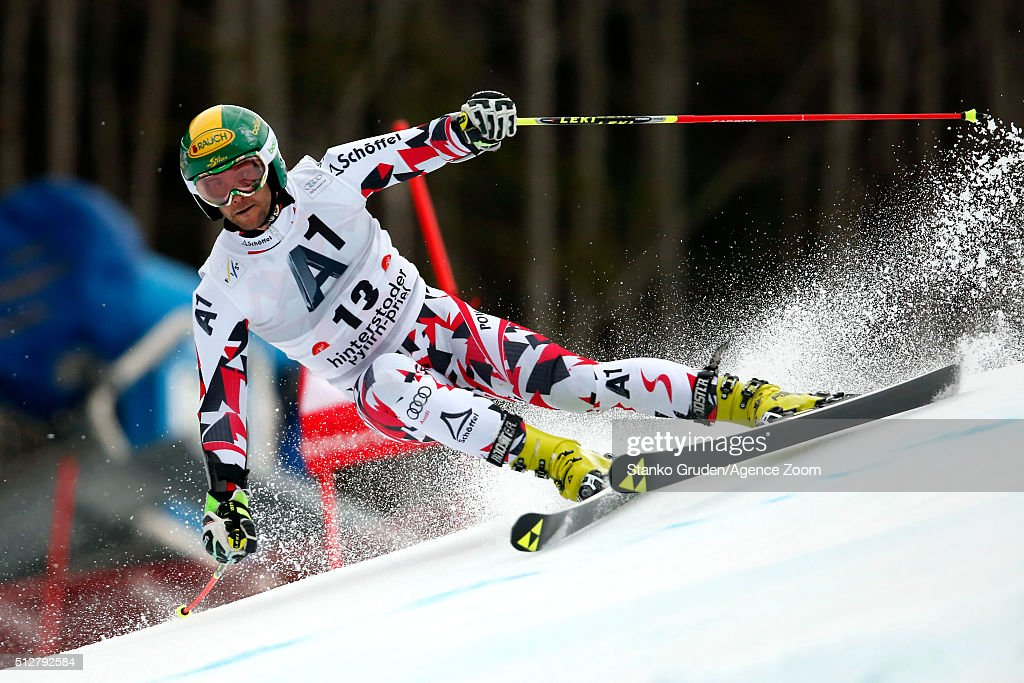 <a gi-track='captionPersonalityLinkClicked' href=/galleries/search?phrase=Philipp+Schoerghofer&family=editorial&specificpeople=5589538 ng-click='$event.stopPropagation()'>Philipp Schoerghofer</a> of Austria competes during the Audi FIS Alpine Ski World Cup Men's Giant Slalom on February 28, 2016 in Hinterstoder, Austria.