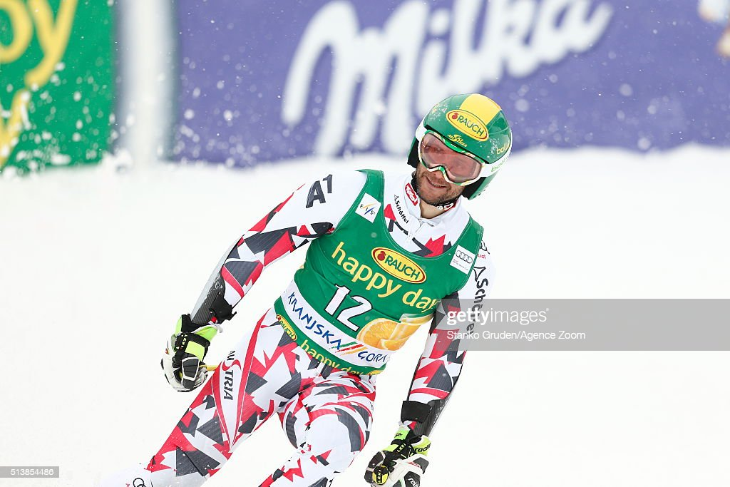 <a gi-track='captionPersonalityLinkClicked' href=/galleries/search?phrase=Philipp+Schoerghofer&family=editorial&specificpeople=5589538 ng-click='$event.stopPropagation()'>Philipp Schoerghofer</a> of Austria competes during the Audi FIS Alpine Ski World Cup Men's Giant Slalom on March 05, 2016 in Kranjska Gora, Slovenia.