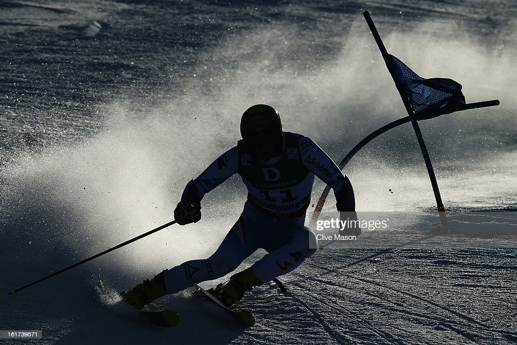 <a gi-track='captionPersonalityLinkClicked' href=/galleries/search?phrase=Philipp+Schoerghofer&family=editorial&specificpeople=5589538 ng-click='$event.stopPropagation()'>Philipp Schoerghofer</a> of Austria skis in the Men's Giant Slalom during the Alpine FIS Ski World Championships on February 15, 2013 in Schladming, Austria.