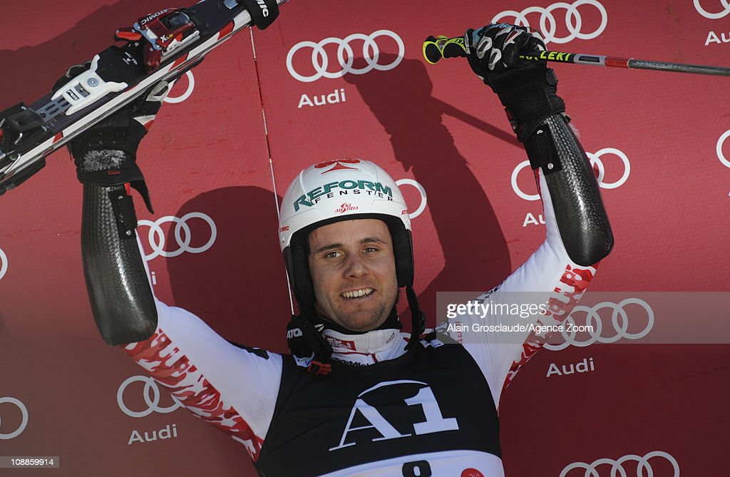 <a gi-track='captionPersonalityLinkClicked' href=/galleries/search?phrase=Philipp+Schoerghofer&family=editorial&specificpeople=5589538 ng-click='$event.stopPropagation()'>Philipp Schoerghofer</a> of Austria takes 1st place during the Audi FIS Alpine Ski World Cup Men's Giant Slalom on February 6, 2011 in Hinterstoder, Austria.