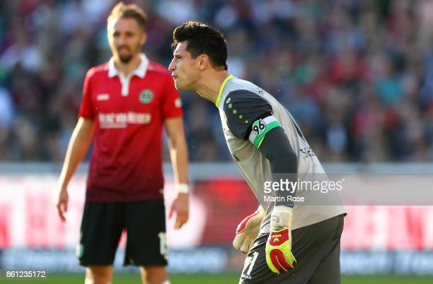 Philipp Tschauner goalkeeper of Hannover reacts during the Bundesliga match between Hannover 96 and Eintracht Frankfurt at HDIArena on October 14...