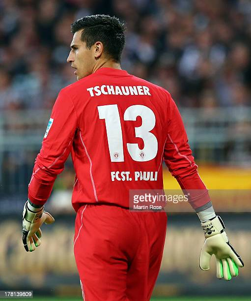 Philipp Tschauner goalkeeper of StPauli reacts during the Second Bundesliga match between FC St Pauli and Dynamo Dresden at Millerntor Stadium on...