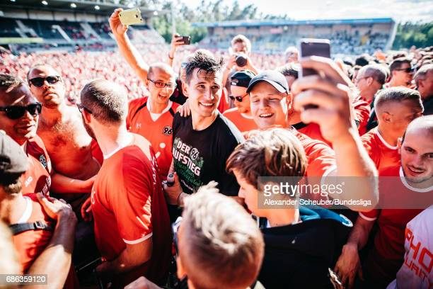 Philipp Tschauner of Hannover 96 celebrates with the fans after the Second Bundesliga match between SV Sandhausen and Hannover 96 at Hardtwaldstadion...