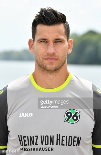 Philipp Tschauner of Hannover 96 poses during the team presentation at on July 14 2017 in Hanover Germany
