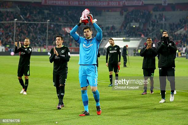 Philipp Tschauner of Hannover and his team celebrate after the Second Bundesliga match between Fortuna Duesseldorf and Hannover 96 at EspritArena on...