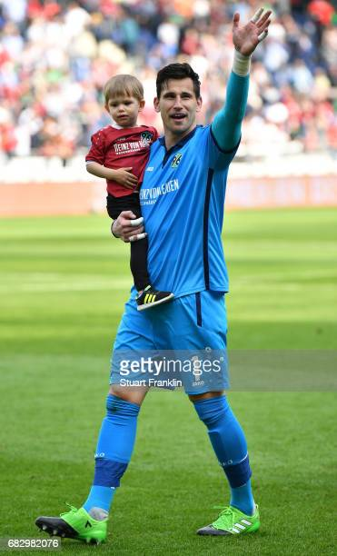 Philipp Tschauner of Hannover celebrates after during the Second Bundesliga match between Hannover 96 and VfB Stuttgart at HDIArena on May 14 2017 in...