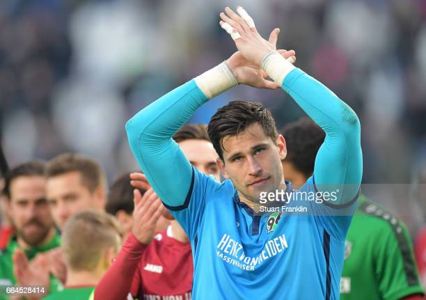 Philipp Tschauner of Hannover celebrates at the end of the Second Bundesliga match between Hannover 96 and 1 FC Nuernberg at HDIArena on April 4 2017...