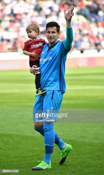 Philipp Tschauner of Hannover igreets fans after the Second Bundesliga match between Hannover 96 and VfB Stuttgart at HDIArena on May 14 2017 in...