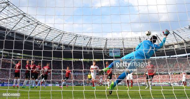 Philipp Tschauner of Hannover makes a save from a Stuttgart freekick during the Second Bundesliga match between Hannover 96 and VfB Stuttgart at...