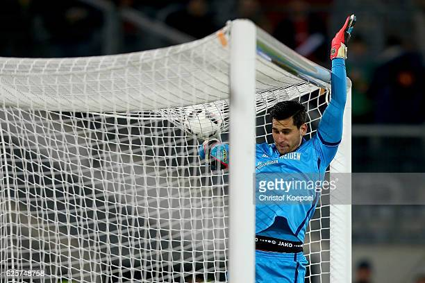 Philipp Tschauner of Hannover saves a ball during the Second Bundesliga match between Fortuna Duesseldorf and Hannover 96 at EspritArena on November...