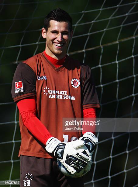 Philipp Tschauner of St Pauli is seen during a training session at the training ground of Niendorfer TSV on June 14 2011 in Hamburg Germany