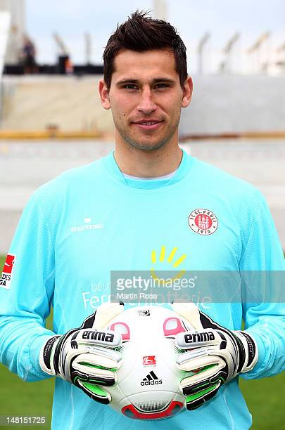 Philipp Tschauner poses during the team presentation of FC StPauli at Millerntor stadium on July 11 2012 in Hamburg Germany