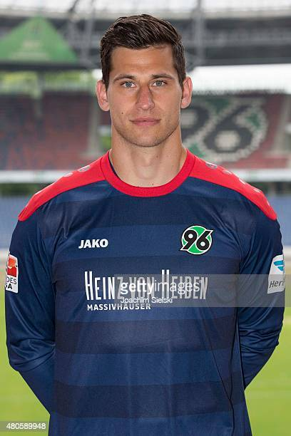 Philipp Tschauner poses during the team presentation of Hannover 96 at HDIArena on July 13 2015 in Hanover Germany