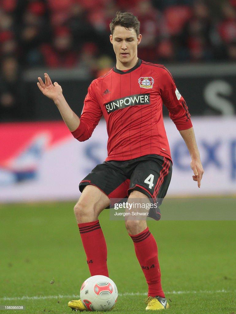 Philipp Wollscheid of Leverkusen controls the ball during the Bundesliga match between Bayer Leverkusen and Hamburger SV at BayArena on December 15, 2012 in Leverkusen, Germany.
