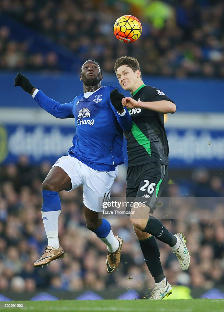 Philipp Wollscheid of Stoke City and Romelu Lukaku of Everton compete for the ball during the Barclays Premier League match between Everton and Stoke City at Goodison Park on December 28, 2015 in Liverpool, England.
