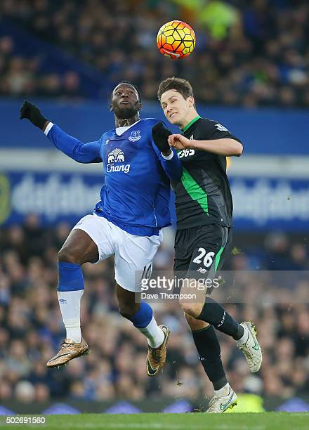 Philipp Wollscheid of Stoke City and Romelu Lukaku of Everton compete for the ball during the Barclays Premier League match between Everton and Stoke...