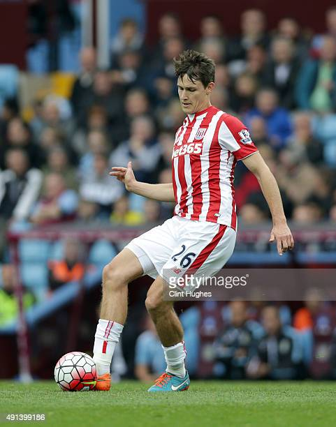 Philipp Wollscheid of Stoke City during the Barclays Premier League match between Aston Villa and Stoke City at Villa Park on October 3 2015 in...