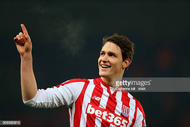 Philipp Wollscheid of Stoke City during the Barclays Premier League match between Stoke City and Arsenal at the Britannia Stadium on January 17 2016...