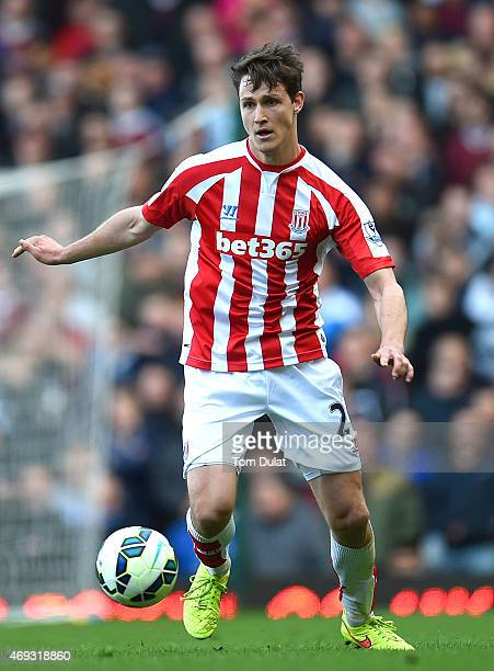 Philipp Wollscheid of Stoke City in action during the Barclays Premier League match between West Ham United and Stoke City at Boleyn Ground on April...