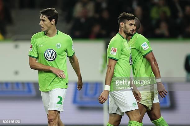 Philipp Wollscheid of Wolfsburg appears frustrated during the Bundesliga match between VfL Wolfsburg and Borussia Dortmund at Volkswagen Arena on...