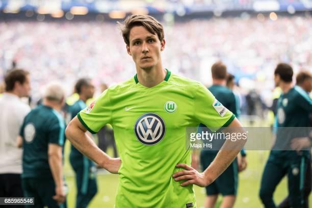Philipp Wollscheid of Wolfsburg reacts after the Bundesliga match between Hamburger SV and VfL Wolfsburg at Volksparkstadion on May 20 2017 in...