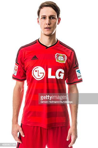 Philipp Wollscheid poses during Bayer 04 Leverkusen Media Day at BayArena on August 4 2014 in Leverkusen Germany