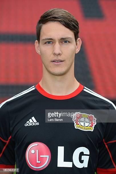 Philipp Wollscheid poses during the Bayer Leverkusen team presentation on September 12 2013 in Leverkusen Germany