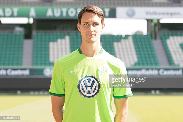 Philipp Wollscheid poses during the official team presentation of VfL Wolfsburg at Volkswagen Arena on September 14 2016 in Wolfsburg Germany
