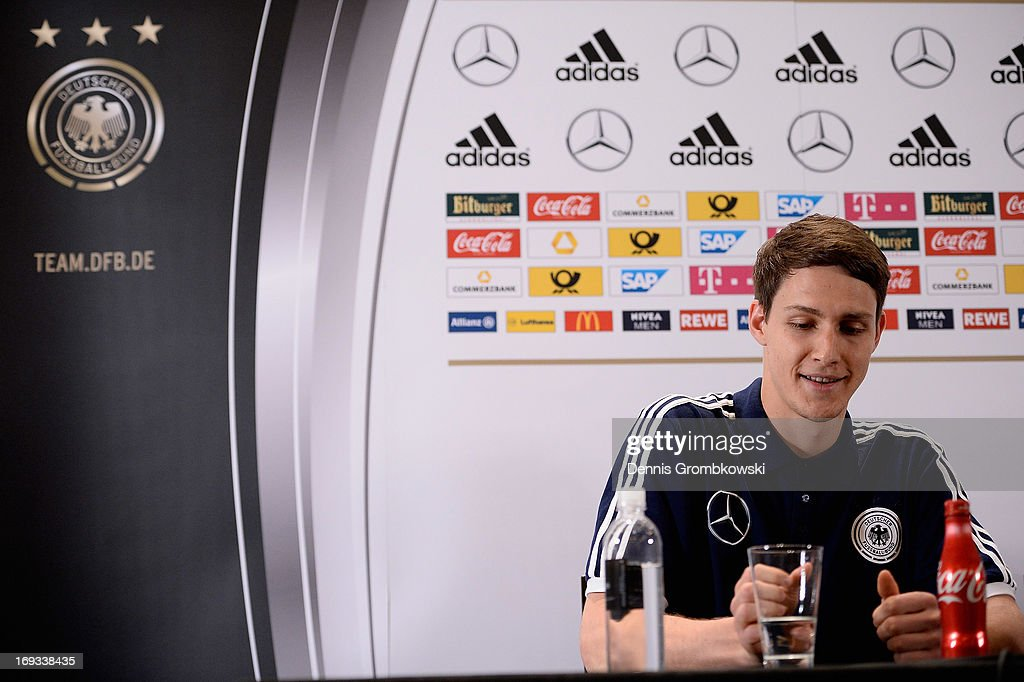 <a gi-track='captionPersonalityLinkClicked' href=/galleries/search?phrase=Philipp+Wollscheid&family=editorial&specificpeople=6587656 ng-click='$event.stopPropagation()'>Philipp Wollscheid</a> reacts during a press conference at team hotel St. Regis Bal Harbour on May 23, 2013 in Miami, Florida.