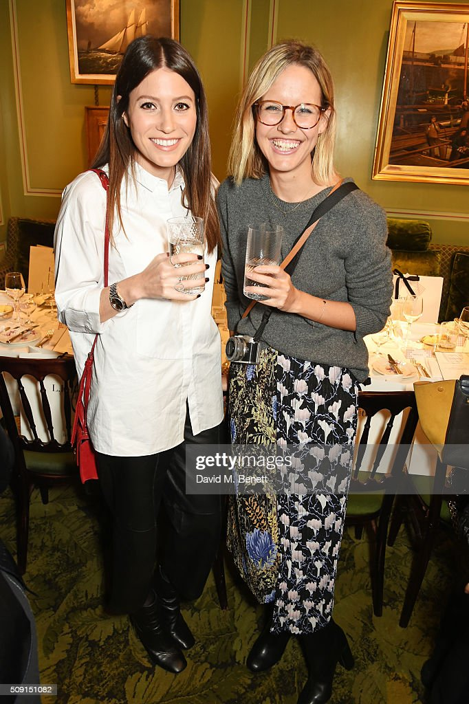 Philippa Bloom (L) and Alex Stedman attend the L.K.Bennett x Bionda Castana lunch at Mark's Club on February 9, 2016 in London, England.