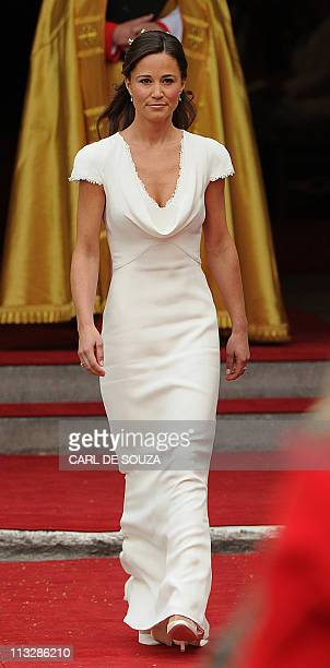 Philippa Middleton sister of Kate Middleton and Maid of Honour arrives at the West Door of Westminster Abbey in London for the wedding of Britain's...