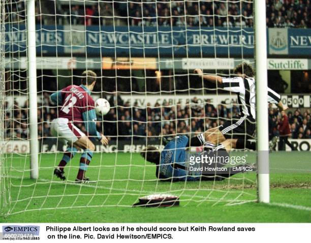Philippe Albert looks as if he should score but Keith Rowland saves on the line