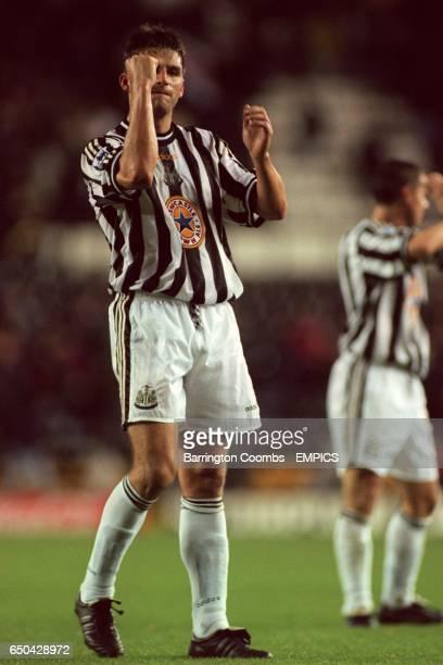 Philippe Albert of Newcastle United celebrates