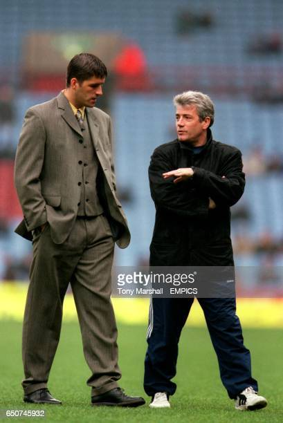LR Philippe Albert on loan from Newcastle United to Fulham chats with his new boss ex Newcastle manager Kevin Keegan