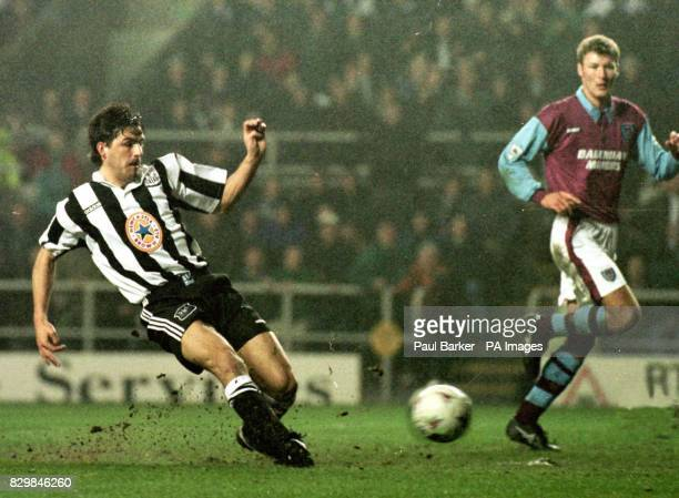 Philippe Albert scores to put Newcastle one up against West Ham in tonight's Premiership duel at St James' Park