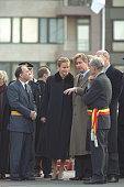 Philippe and Mathilde of Belgium with the Mayor of Saint Niklaas