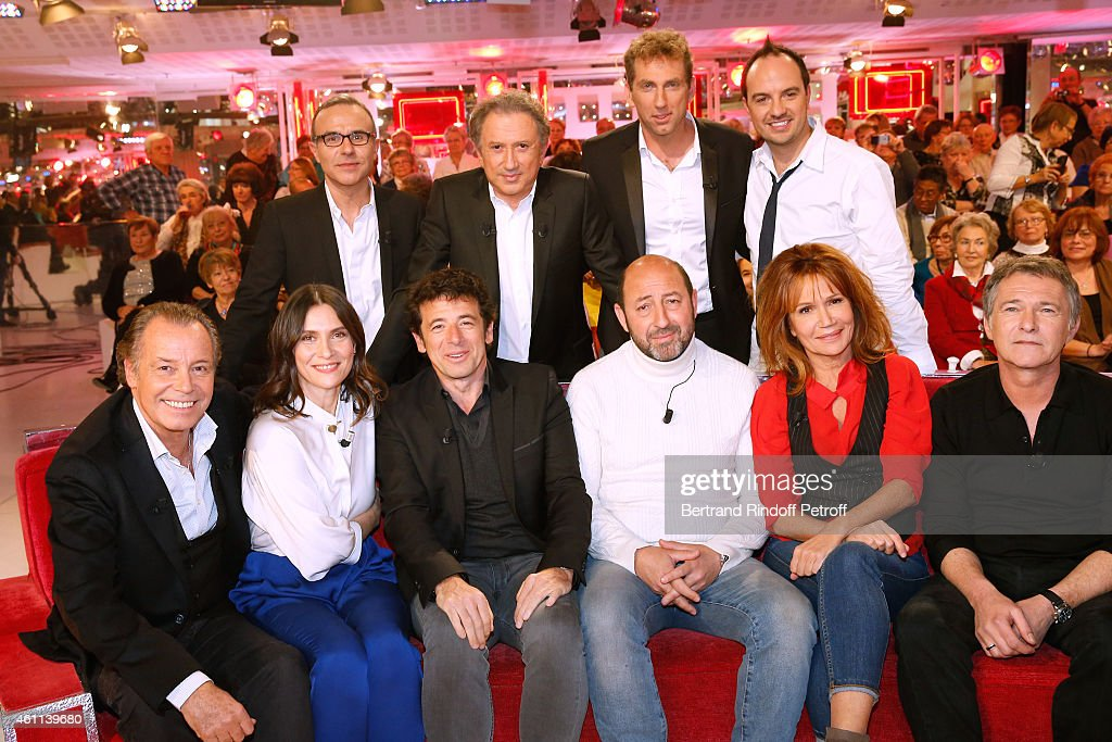 Philippe Besson, <a gi-track='captionPersonalityLinkClicked' href=/galleries/search?phrase=Michel+Drucker&family=editorial&specificpeople=769504 ng-click='$event.stopPropagation()'>Michel Drucker</a>, Thierry Garcia, Jarry, (Front L-R) Main guest of the show <a gi-track='captionPersonalityLinkClicked' href=/galleries/search?phrase=Michel+Leeb&family=editorial&specificpeople=607701 ng-click='$event.stopPropagation()'>Michel Leeb</a>, <a gi-track='captionPersonalityLinkClicked' href=/galleries/search?phrase=Geraldine+Pailhas&family=editorial&specificpeople=2444310 ng-click='$event.stopPropagation()'>Geraldine Pailhas</a>, <a gi-track='captionPersonalityLinkClicked' href=/galleries/search?phrase=Patrick+Bruel&family=editorial&specificpeople=549816 ng-click='$event.stopPropagation()'>Patrick Bruel</a>, <a gi-track='captionPersonalityLinkClicked' href=/galleries/search?phrase=Kad+Merad&family=editorial&specificpeople=4046093 ng-click='$event.stopPropagation()'>Kad Merad</a>, <a gi-track='captionPersonalityLinkClicked' href=/galleries/search?phrase=Clementine+Celarie&family=editorial&specificpeople=636457 ng-click='$event.stopPropagation()'>Clementine Celarie</a> and Bruno Wolkowitch attend the 'Vivement Dimanche' French TV Show at Pavillon Gabriel on January 7, 2015 in Paris, France.