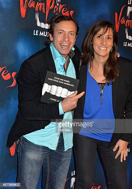 Philippe Candeloro and his wife attend 'Le Bal Des Vampires' Premiere At Theatre Mogador on October 16 2014 in Paris France