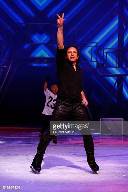 Philippe Candeloro performs with young Ice Skaters from 'Team 23' during 'Holiday On Ice 2016' Paris Premiere at Zenith de Paris on March 3 2016 in...