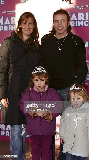 Philippe Candeloro with wife Olivia and children Louna and Maya in MarnelaVallee France on October 16th 2004