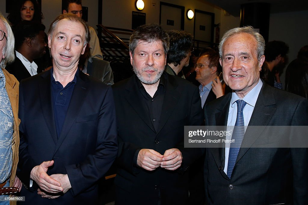 Philippe Chevallier, Regis Laspales and Politician <a gi-track='captionPersonalityLinkClicked' href=/galleries/search?phrase=Jean+Tiberi&family=editorial&specificpeople=2365255 ng-click='$event.stopPropagation()'>Jean Tiberi</a> pose backstage after French Humorists Regis Laspales and Philippe Chevallier perform in their show 'Vous reprendrez bien quelques sketchs ?' at Olympia on April 23, 2015 in Paris, France.