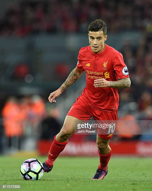 Philippe Countinho of Liverpool during the Premier League match between Liverpool and West Bromwich Albion at Anfield on October 22 2016 in Liverpool...