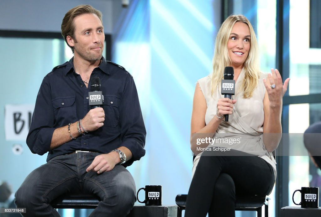 Philippe Cousteau Jr. (L) and Ashlan Gorse Cousteau discuss 'Caribbean Pirate Treasure' at Build Studio on August 17, 2017 in New York City.
