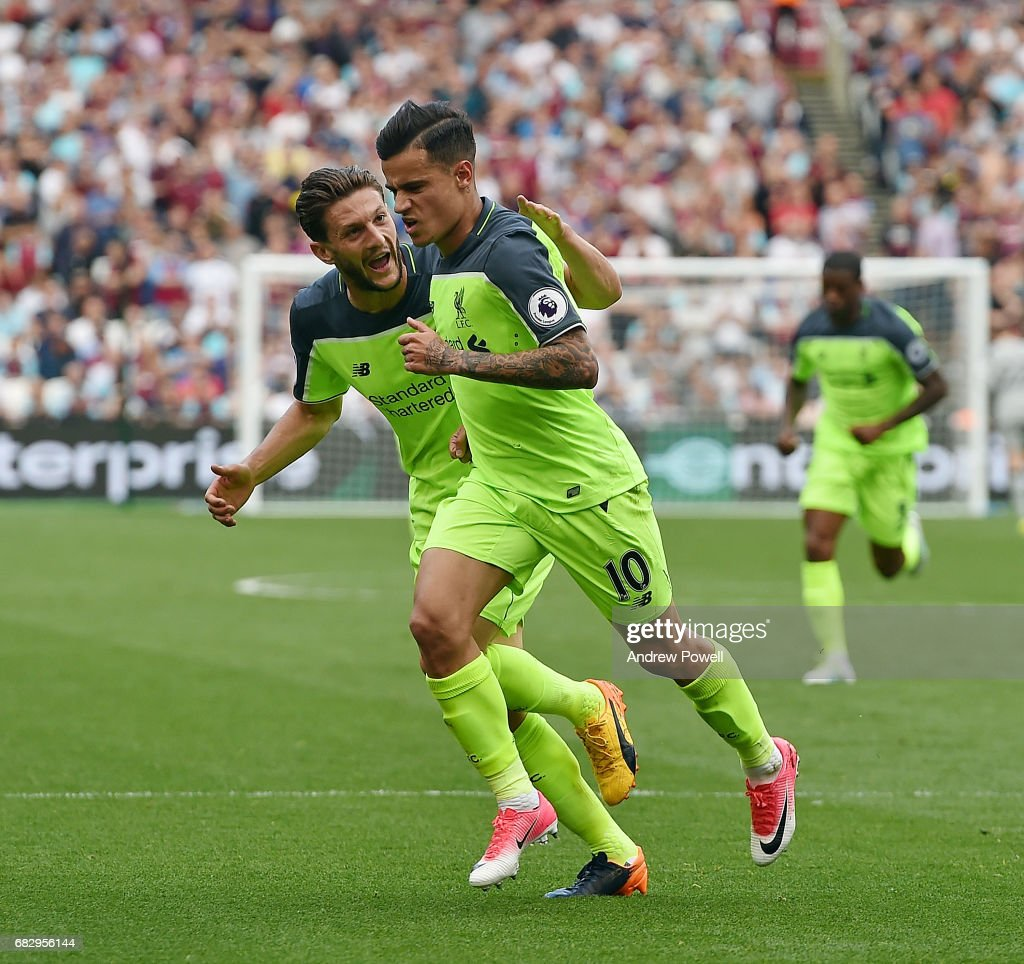 Philippe Coutihno of Liverpool celebrates after scoring the seond goal during the Premier League match between West Ham United and Liverpool at London Stadium on May 14, 2017 in Stratford, England.