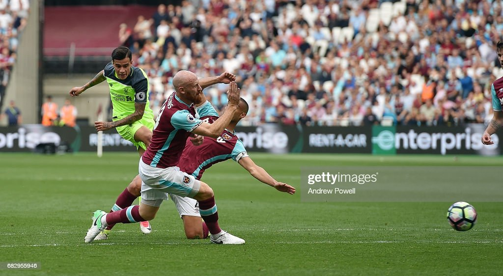 Philippe Coutihno of Liverpool scores the second goal during the Premier League match between West Ham United and Liverpool at London Stadium on May 14, 2017 in Stratford, England.