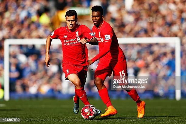 Philippe Coutinho and Daniel Sturridge of Liverpool in action during the Barclays Premier League match between Everton and Liverpool at Goodison Park...